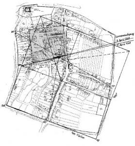 Die Vermessung Marcheggs machte für DI Reidinger klar: Lage der Kirche und Planung der Stadt sind miteinander eng verbunden. Die Ausmaße der Stadt (400 x 400 Klafter/1K = 1,82m) und des Stadtplatzes mit 150 Klafter sind die größten der damaligen Zeit! WT = Wienertor GT = Groißenbrunnertor UT = Ungartor